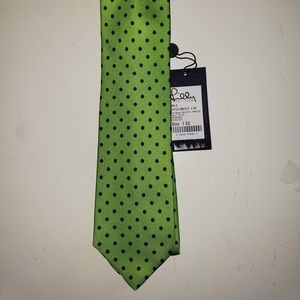 Lilly Pulitzer tie - green with navy polka dots
